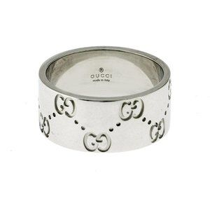 GUCCI Icon Logo 18K White Gold 9 mm Wide Ring